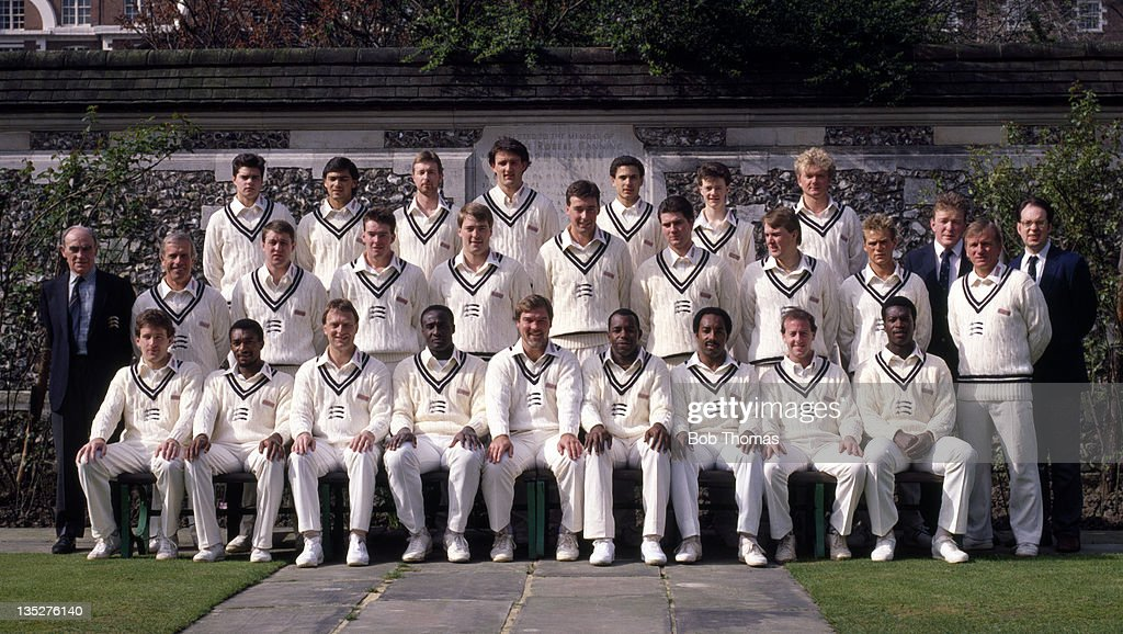 Middlesex County Cricket Club at Lord's cricket ground in London, circa April 1988. Back row, left to right: Alex Barnell, Mark Ramprakash, Andy Needham, Ian Hutchinson, Paul Weekes, Tony Radford, Martin Olley, Jim Davis (physio) and Andrew Jones (2nd XI scorer); middle row, left to right: Harry Sharp (Coventry scorer), Don Bennett (coach), Keith Brown, Alister Fraser, Michael Roseberry, Angus Fraser, Jamie Skyes, Phil Tufnell, Neil MacLaurin and Clive Radley (assistant coach); front row, left to right: John Carr, Neil Williams, Paul Downton, Wayne Daniel, Mike Gatting, Wilf Slack, Roland Butcher, Simon Hughes and Norman Cowans.