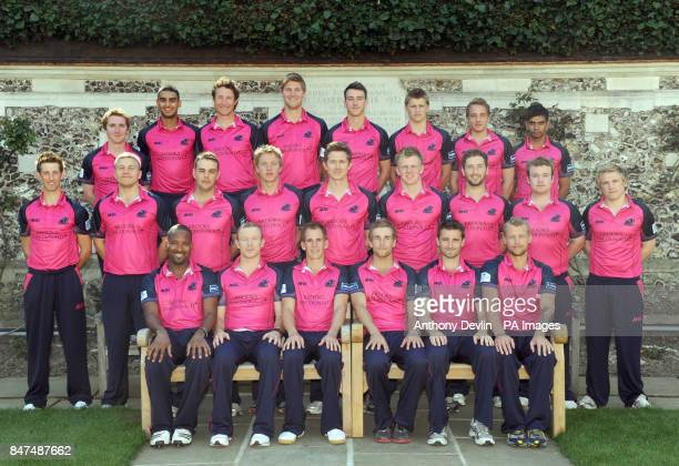 Middlesex Cricket Club pose for a team photograph in their Twenty20 kit during the press day at Lord's Cricket Ground London Tom Smith Gurjit Sandhu...