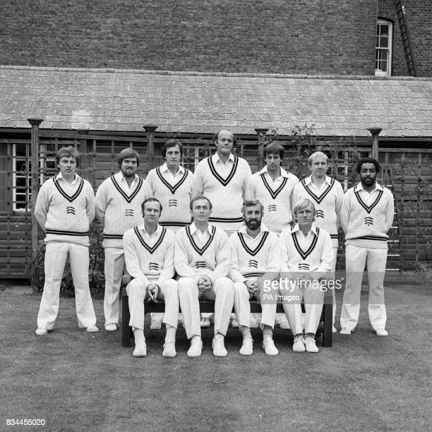 Middlesex Cricket Club's 1st Team group at Lord's Cricket Ground Left top right back row Ian Gould Mike Gatting John Emburey Vintcent van der Bijl...