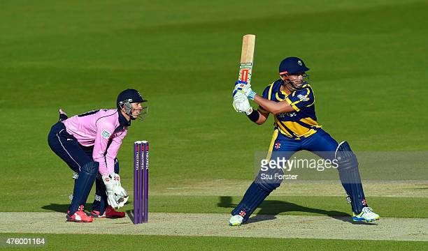 Middlesex keeper John Simpson looks on as Glamorgan batsman Jacques Rudolph prepares to switch hit a ball to the boundary for four during the NatWest...