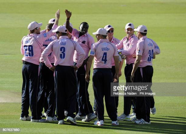 Middlesex Panthers' celebrate the wicket of Sussex Sharks Chris Nash for 2 runs during the Friends Provident T20 match at Lord's Cricket Ground London