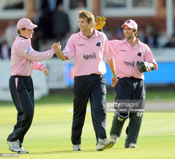 Middlesex Panthers' Dawid Malan is congratulated after taking the wicket of Rajasthan Royals' Swapnil Asnodkar during the Twenty20 match at Lord's...