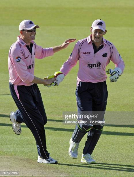 Middlesex Panthers' wicketkeeper Adam Gilchrist takes a catch to dismiss Sussex Sharks Chris Nash for 2 runs during the Friends Provident T20 match...