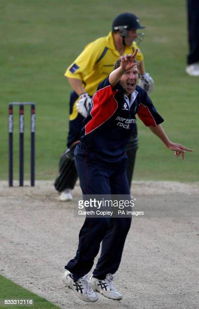 Middlesex's Alan Richardson successfully appeals for the wicket of Yorkshire's Andrew Gale during the NatWest Pro40 Division Two match at Headingley...