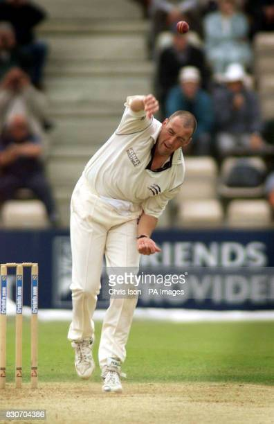 Middlesex's and former England bowler Angus Fraser in action against Hampshire during the CricInfo Championship Division Two game at the Hampshire...