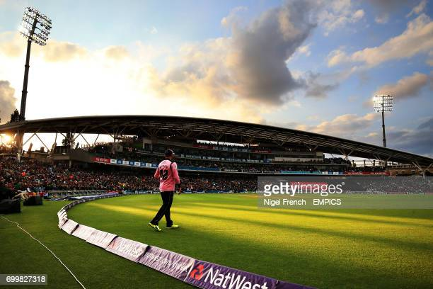 Middlesex's Brendon McCullum fields at the boundary at the Kia Oval