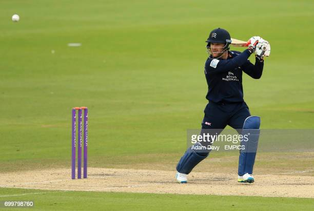 Middlesex's Brendon McCullum hits out for four runs