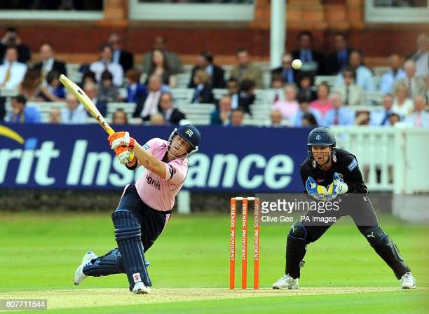 Middlesex's David Warner plays a shot from which he is caught out as Kent's Geraint Jones looks on during the Friends Provident T20 match at Lords...