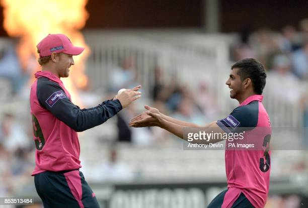 Middlesex's Dawid Malan celebrates taking the catch of Sussex's Ed Joyce off the bowling of Ravi Patel during the Natwest T20 Blast South Division...
