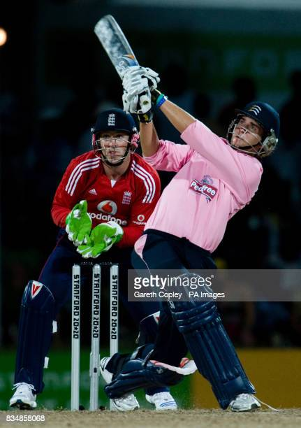 Middlesex's Dawid Malan hits out during the Stanford Super Series match at Stanford Cricket Ground Coolidge Antigua