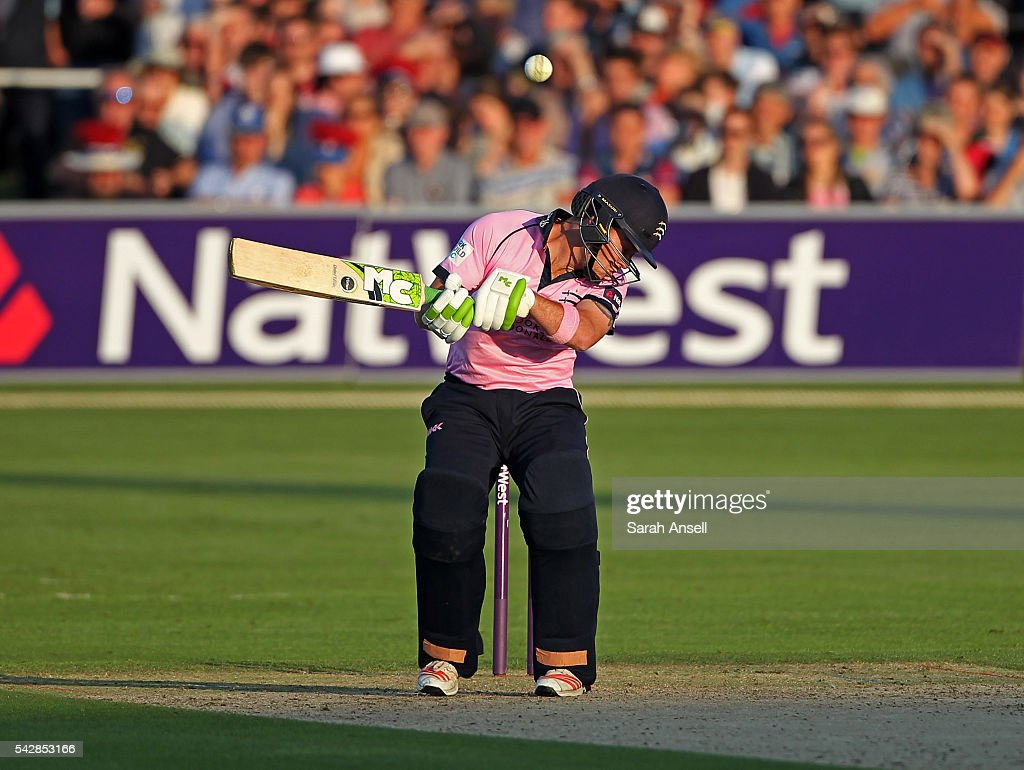 Middlesex's Ryan Higgins ducks to avoid a bouncer during the Natwest T20 Blast match between Kent and Middlesex at The Spitfire Ground on June 24, 2016 in Canterbury, England.