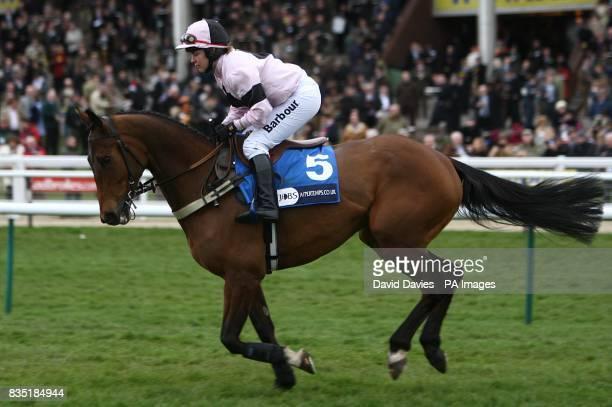 Middleton Dene ridden by jockey Rose Dobbin going to post prior to the Pertemps Final
