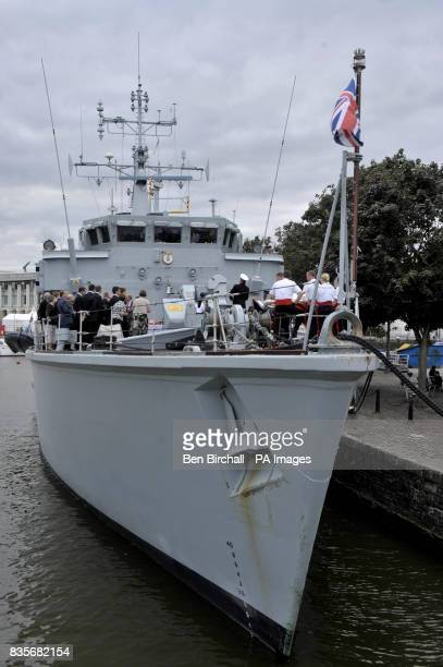 HMS Middleton which is a hunt class mine counter measures ship moored at Bristol Harbourside as Bristol's Royal Naval Reserves and the cities other...