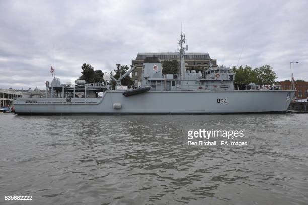HMS Middleton which is a hunt class mine counter measures ship moored at Bristol Harbourside