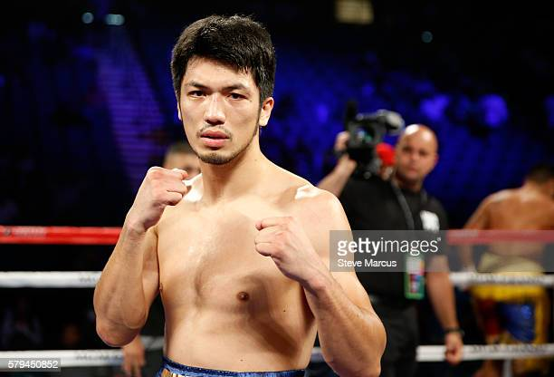 Middleweight boxer Ryota Murata of Japan poses after his fight against George Tahdooahnippah at MGM Grand Garden Arena on July 23 2016 in Las Vegas...