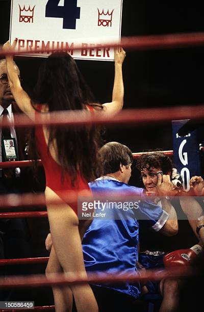 Andrea DeShong in corner before round 4 vs Christy Martin during fight at MGM Grand Garden Arena Las Vegas NV CREDIT Neil Leifer