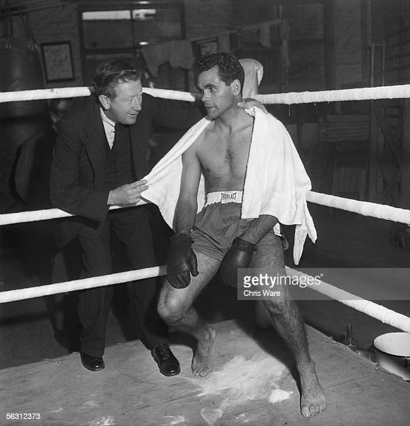 Middleweight boxing champion Dave Sands an Australian Aborigine training for a fight in London March 1949