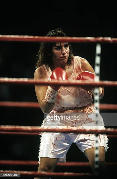Christy Martin in ring with bloody nose during fight vs Andrea DeShong at MGM Grand Garden Arena Las Vegas NV CREDIT Neil Leifer