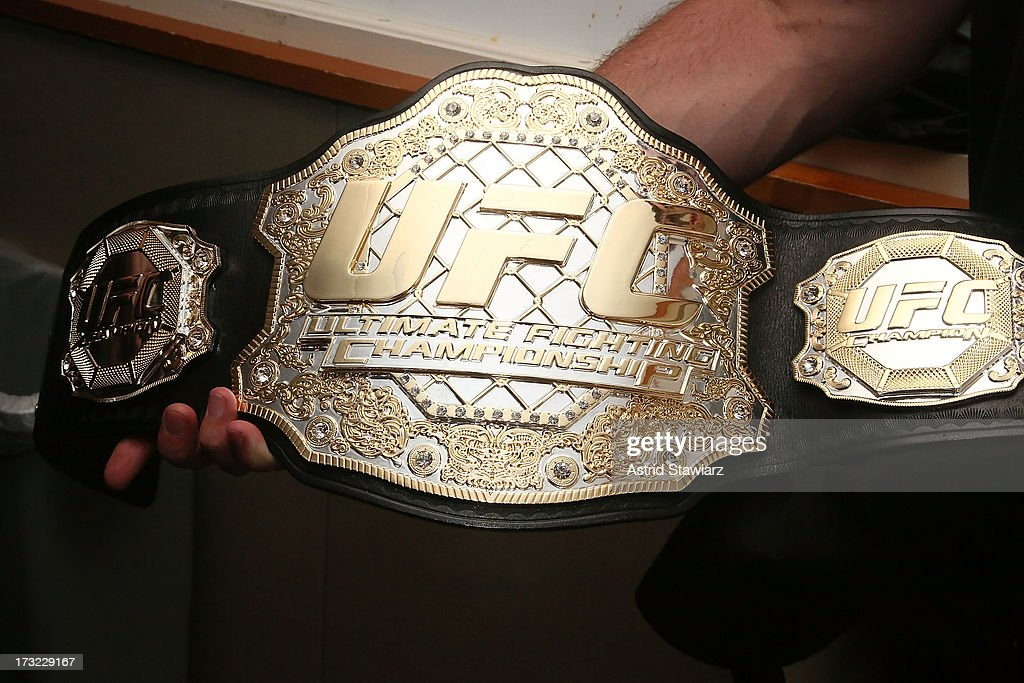 Middleweight Champion belt belonging to Chris Weidman is seen at the SiriusXM Studios on July 10, 2013 in New York City.