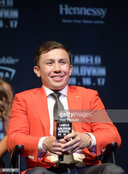 """Middleweight Champion Boxer Gennady 'GGG' Golovkin speaks about his upcoming fight against Canelo Alvarez during the Canelo Alvarez and Gennady """"GGG""""..."""
