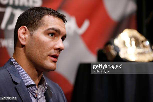 UFC middleweight champion Chris Weidman interacts with media during the UFC Ultimate Media Day at the Mandalay Bay Resort and Casino on July 3 2014...