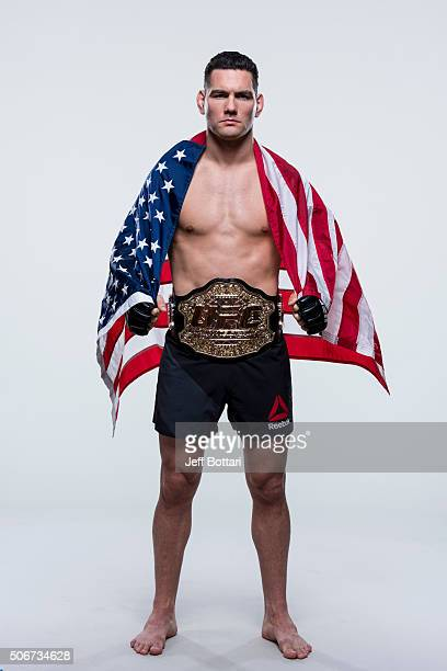 UFC middleweight champion Chris Weidman of the United States poses for a portrait during a UFC portrait session at MGM Grand Garden Arena on December...