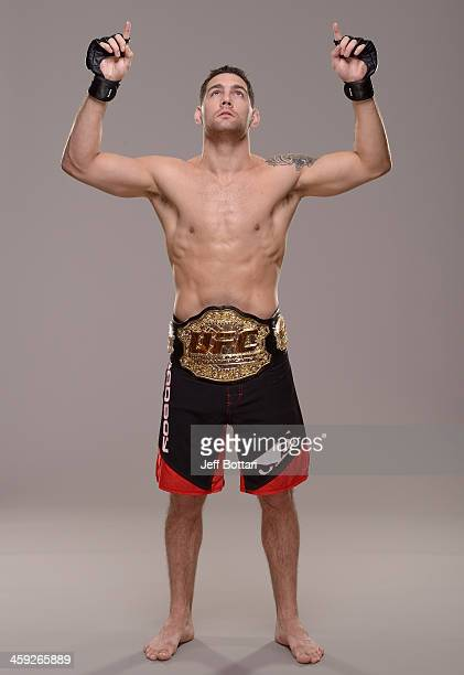 UFC middleweight champion Chris Weidman poses for a portrait during a UFC photo session on December 24 2013 in Las Vegas Nevada