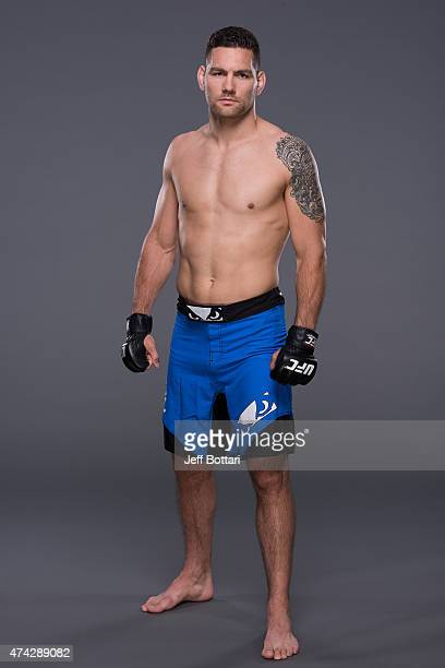 Middleweight Champion Chris Weidman poses for a portrait during a UFC photo session inside the MGM Grand Garden Arena on May 20 2015 in Las Vegas...
