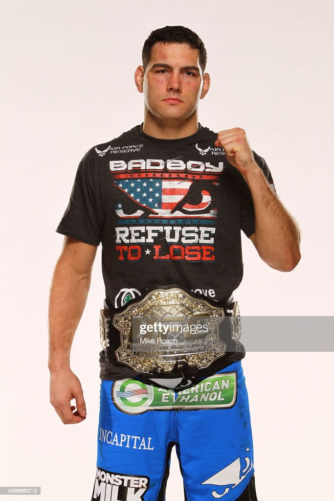 Middleweight Champion Chris Weidman poses for a post-fight portrait after defeating Anderson Silva by TKO after their middleweight championship bout during the UFC 168 event at the MGM Grand Garden Arena on December 28, 2013 in Las Vegas, Nevada.