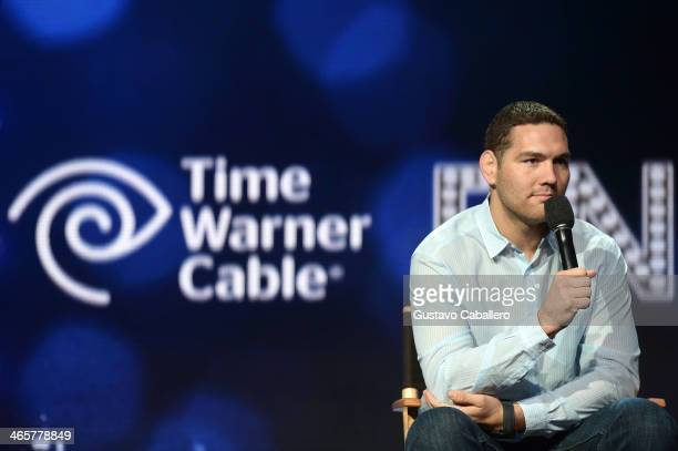 Middleweight Champion Chris Weidman speaks onstage during the Time Warner Cable Studios UFC and Revolt taping at Time Warner Cable Studios on January...