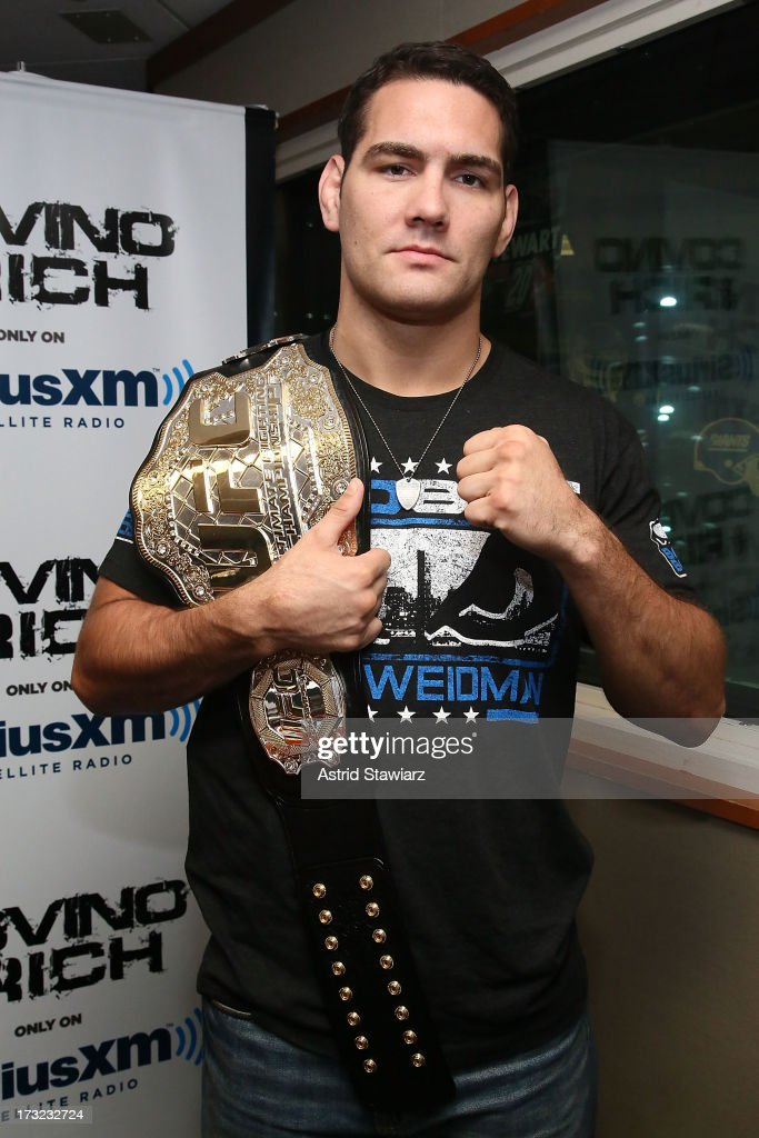 Middleweight Champion Chris Weidman visits 'Covino & Rich' at the SiriusXM Studios on July 10, 2013 in New York City.