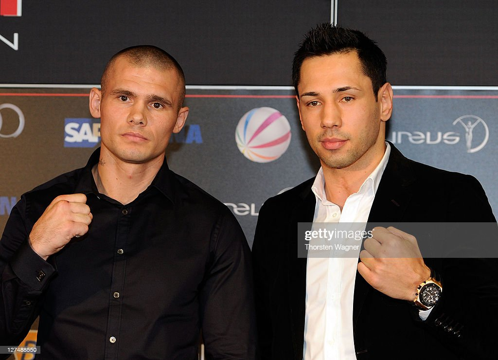 WBA middleweight champion <a gi-track='captionPersonalityLinkClicked' href=/galleries/search?phrase=Felix+Sturm&family=editorial&specificpeople=171389 ng-click='$event.stopPropagation()'>Felix Sturm</a> (R) and his defender Martin Murray (L) look on during a press conference at SAP Arena on September 28, 2011 in Mannheim, Germany. WBA middleweight champion <a gi-track='captionPersonalityLinkClicked' href=/galleries/search?phrase=Felix+Sturm&family=editorial&specificpeople=171389 ng-click='$event.stopPropagation()'>Felix Sturm</a> will defend his title against Martin Murray of Great Britain on December 02.