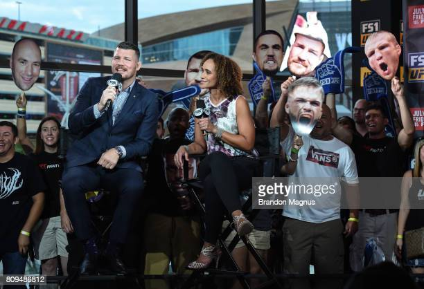 UFC middleweight champion Michael Bisping and Karyn Bryant host TUF Talk at Park Theater on July 5 2017 in Las Vegas Nevada