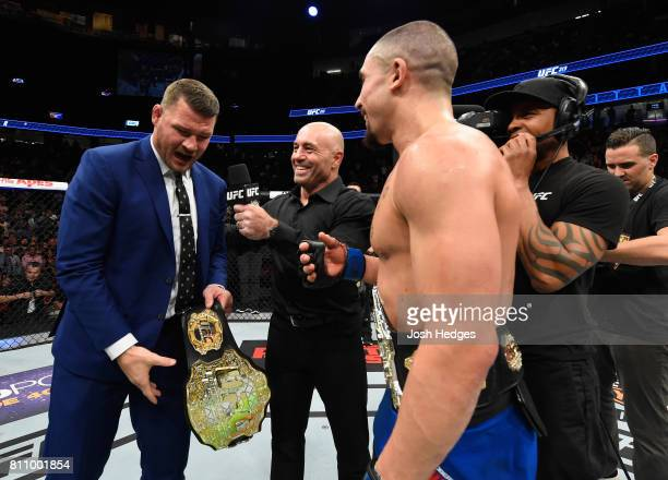 UFC middleweight champion Michael Bisping challenges newly crowned interim UFC middleweight champion Robert Whittaker of New Zealand after his...