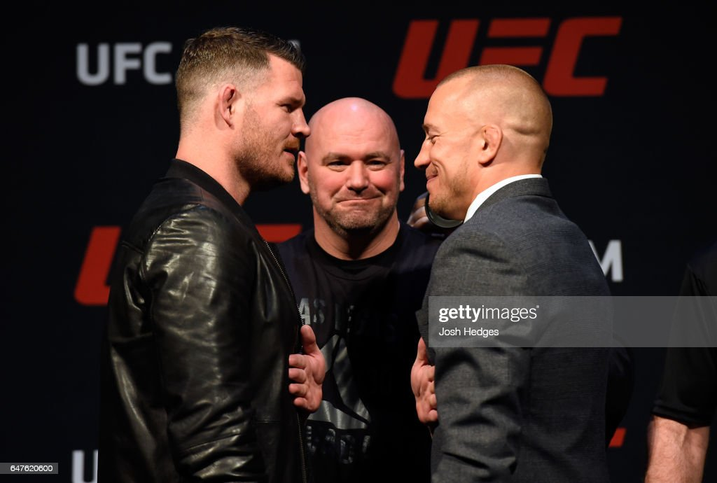 UFC middleweight champion Michael Bisping of England faces off against Georges St-Pierre of Canada during the UFC press conference at T-Mobile arena on March 3, 2017 in Las Vegas, Nevada.