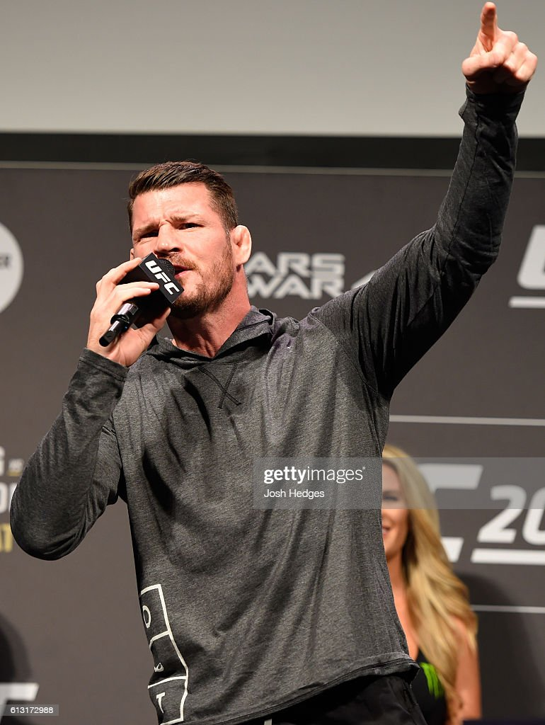 UFC middleweight champion Michael Bisping talks to the fans during the UFC 204 weigh-in at the Manchester Central Convention Complex on October 7, 2016 in Manchester, England.