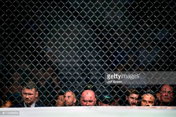 UFC Middleweight Champion Michael Bisping UFC President Dana White and CoCEO of WME Ari Emanuel watch Yoel Romero of Cuba and Robert Whittaker of New...