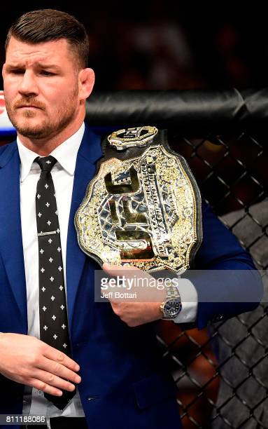Middleweight Champion Michael Bisping waits in the Octagon before hearing the decision between Yoel Romero of Cuba and Robert Whittaker of New...
