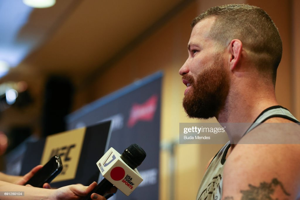 UFC middleweight contender Nate Marquardt of the United States speaks to the media during Ultimate Media Day at Windsor Hotel on June 01, 2017 in Rio de Janeiro, Brazil.