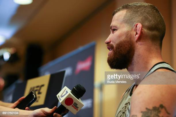 UFC middleweight contender Nate Marquardt of the United States speaks to the media during Ultimate Media Day at Windsor Hotel on June 01 2017 in Rio...