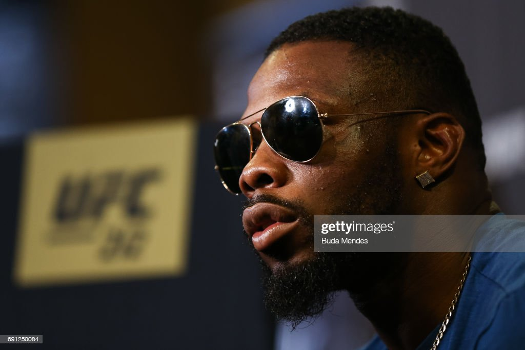 UFC middleweight contender Oluwale Bamgbose of the United States speaks to the media during Ultimate Media Day at Windsor Hotel on June 01, 2017 in Rio de Janeiro, Brazil.