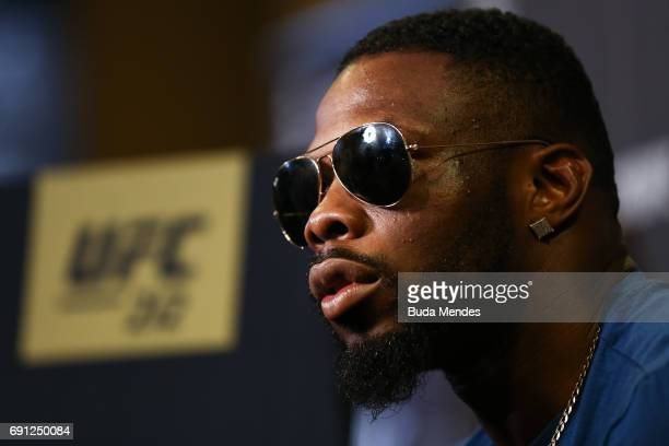 UFC middleweight contender Oluwale Bamgbose of the United States speaks to the media during Ultimate Media Day at Windsor Hotel on June 01 2017 in...