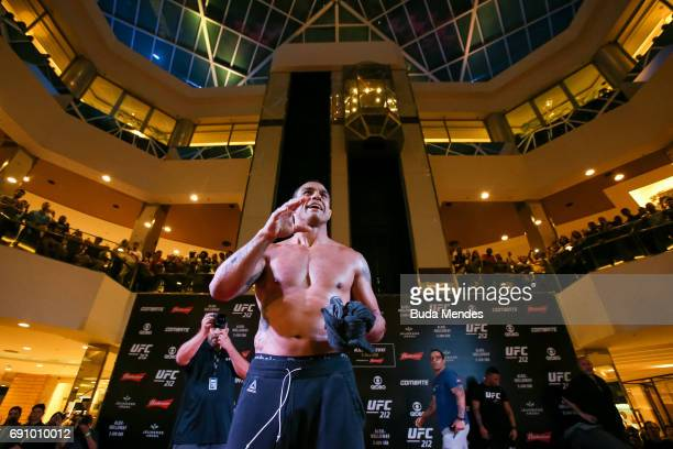 UFC middleweight contender Vitor Belfort of Brazil holds an open training session at Barra Shopping on May 31 2017 in Rio de Janeiro Brazil