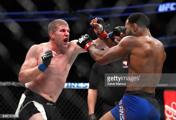 Middleweight Daniel Kelly of Australia punches Rashad Evans during UFC 209 at TMobile Arena on March 4 2017 in Las Vegas Nevada Kelly won the fight...