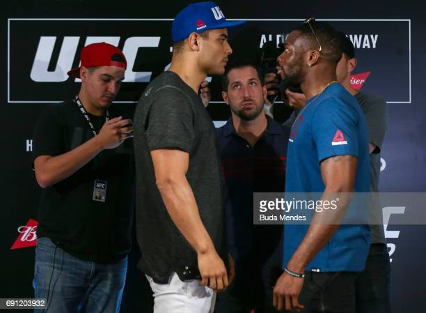 UFC middleweight fighters Paulo ÒBorrachinhaÓ of Brazil and Oluwale Bamgbose of the United States face off during Ultimate Media Day at Windsor Hotel...