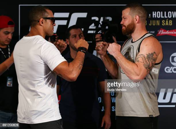 UFC middleweight fighters Vitor Belfort of Brazil and Nate Marquardt of the United States face off during Ultimate Media Day at Windsor Hotel on June...