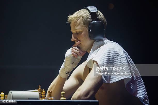 Middleweight World Champion in chessboxing Sven Rooch from Germany plays a round of chess versus his Spanish challenger for the World Championship...