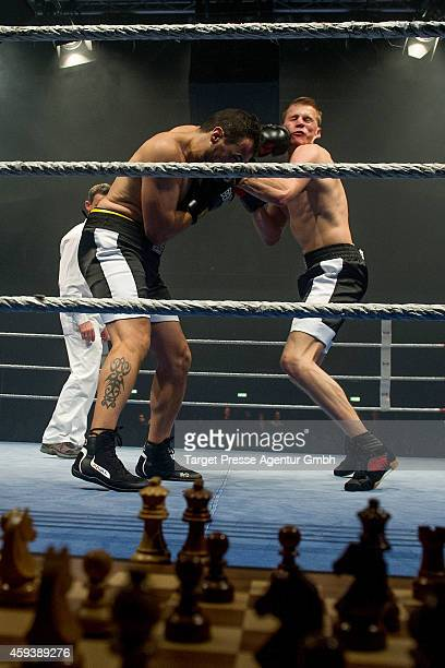 Middleweight World champion in chessboxing Sven Rooch from Germany competes against Jonathan Rodriguez Vega of Spain for the world championship at...
