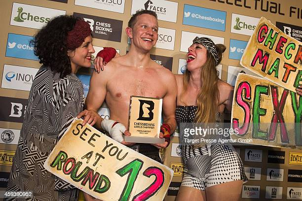 Middleweight World champion in chessboxing Sven Rooch from Germany celebrates with female fans after he defeated his Spanish challenger for the World...