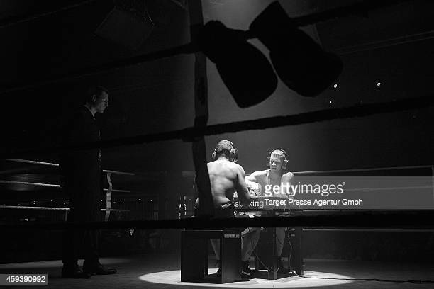 Middleweight World Champion in chessboxing Sven Rooch of Germany plays a round of chess against challenger for the World Championship Jonathan...